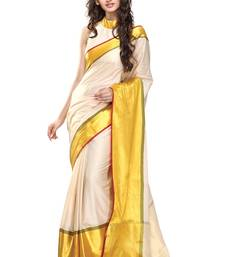 White and Yellow Color Cotton Saree with blouse shop online