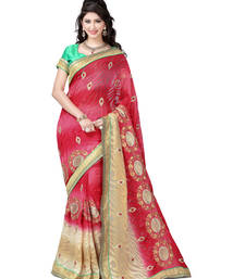 Buy Multicolor embroidered jacquard saree with blouse brasso-saree online