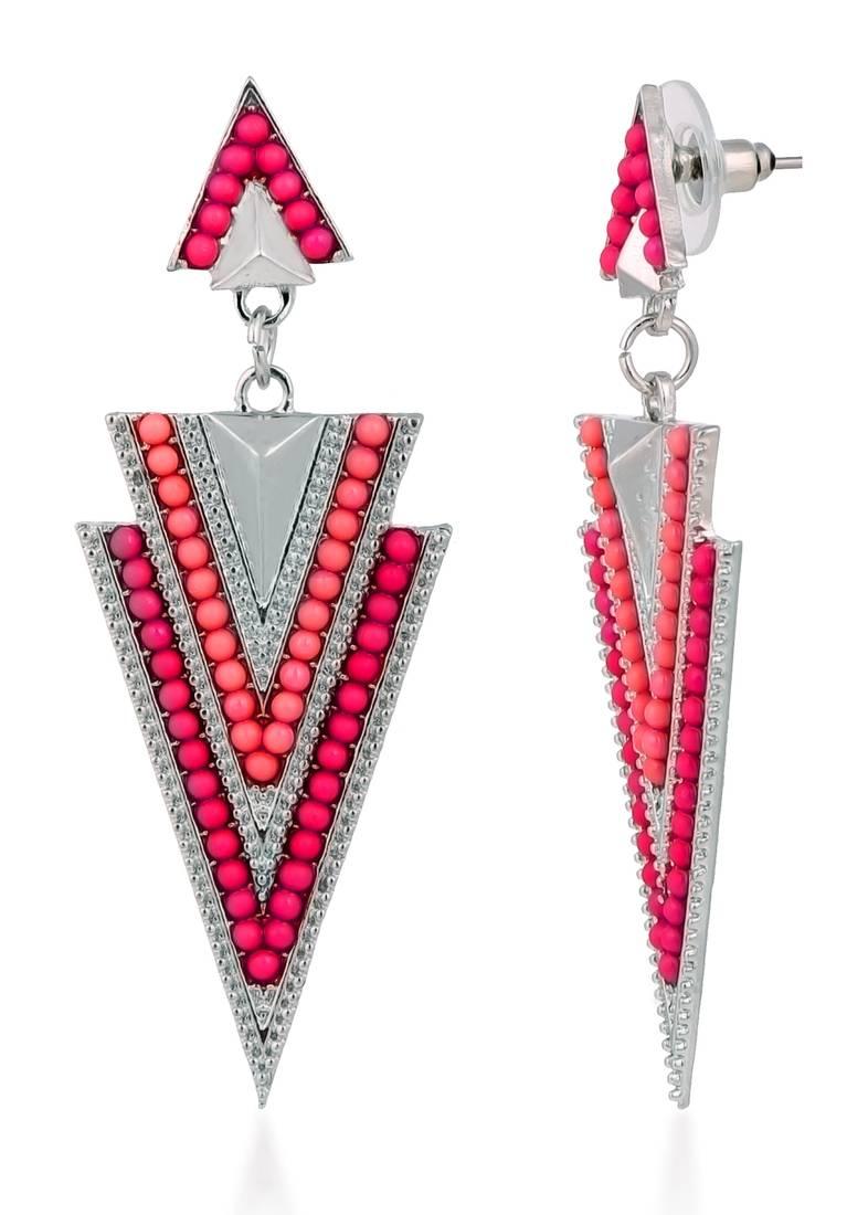 buy triangle pink ethnic dangling earrings