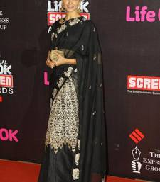 Buy black embroidered net saree with blouse deepika-padukone-saree online