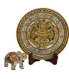 Buy Set of Fish Printed Marble Plate and Saluting Elephant decorative-plate online