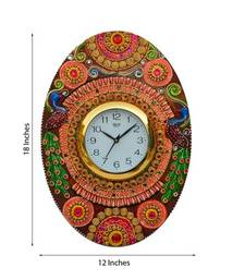 Buy Papier-Mache Oval Kundan Studded Wall Clock wall-clock online
