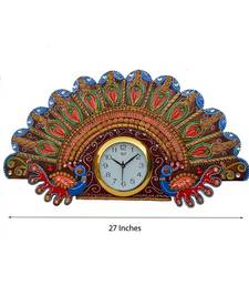 Buy Papier-Mache Peacock Design Wall Clock wall-clock online