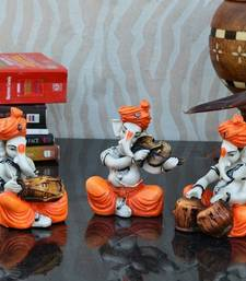 Buy Set of 3 Ganesha Playing Dholak, Violen and Tabla thanksgiving-gift online