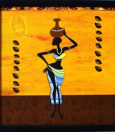 Buy Tribal Lady Satin Matt Texture Framed UV Art Print painting online