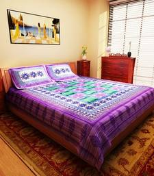 Buy Shades of Paradise Purple Jaipuri Print Cotton Double Bedsheet with 2 Pillow Cover bed-sheet online