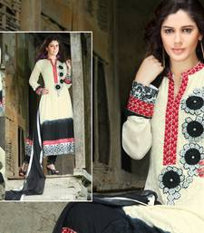 Buy off white and black embroidered georgette stitched salwar readymade-suit online