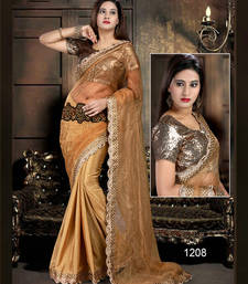 Buy Brown embroidered Net saree with blouse net-saree online
