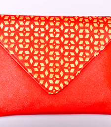 Buy Red Coloured Semi leather side purse clutch online