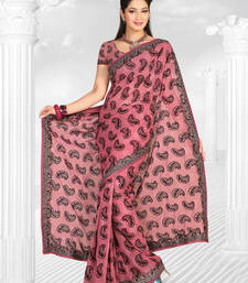 Buy Pink embroidered tissue saree with blouse tissue-saree online