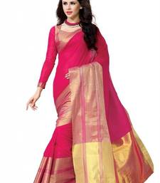 Buy Pink plain cotton saree with blouse south-indian-saree online
