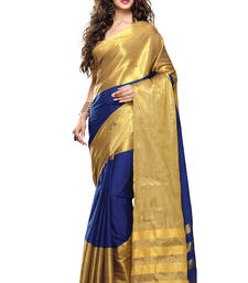 Buy Blue plain cotton saree with blouse south-indian-saree online
