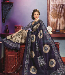 Buy Printed Khadi Silk Saree jute-saree online
