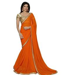 Buy Orange embroidered Chiffon saree with blouse bollywood-saree online