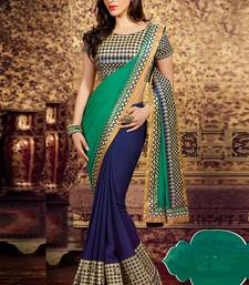 Buy Green & Blue embroidered georgette saree  with blouse party-wear-saree online