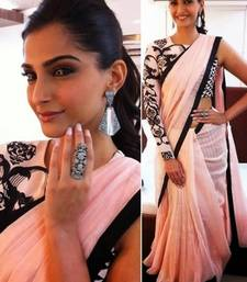 Buy Pink Plain Georgette saree with blouse sonam-kapoor-saree online
