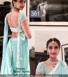 Buy Sky blue  thread Georgette saree with blouse sonam-kapoor-saree online