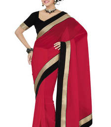 Buy Red Plain Georgette saree with blouse madhuri-dixit-saree online