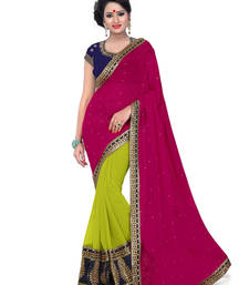 Buy Green  and  Pink embroidered georgette saree with blouse wedding-saree online
