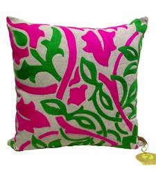 Buy Fuchsia & Green Bold Embroidered Cushion Cover pillow-cover online