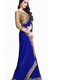 Buy BLUE EMBROIDERY GEORGETTE SAREE WITH BLOUSE shimmer-saree online