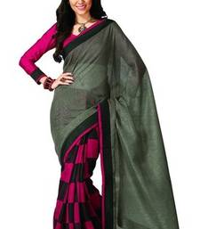 Buy GREEN PRINTED BHAGALPURI SILK SAREE WITH BLOUSE shimmer-saree online