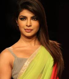 Buy Priyanka Bollywood Replica Green Soft Net Saree by Adiva priyanka-chopra-saree online