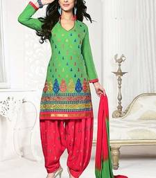 Buy Green embroidered Cotton unstitched salwar with dupatta punjabi-suit online