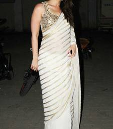 Buy White embroidered chiffon saree with blouse kareena-kapoor-saree online