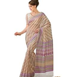 Buy Light brown printed cotton saree with blouse cotton-saree online