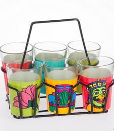 Buy Hand painted  set of 6 glass with stand tg Super Six assorted 2 tea-kettle online