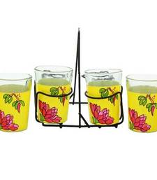 Buy Hand painted MuHeNeRa set of 6 glass with stand tg blossom tea-kettle online
