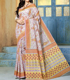 Buy Brown and White printed cotton saree with blouse cotton-saree online