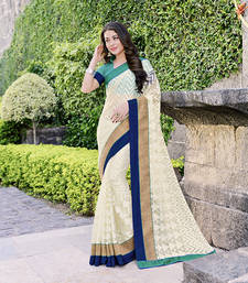 Buy Off white and Blue brasso tissue saree with blouse tissue-saree online