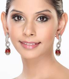 Buy Onyx Beads and CZ Hanging Earrings hoop online