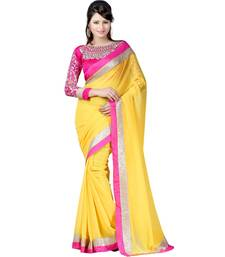 Buy yellow embroidered chiffon saree with blouse party-wear-saree online