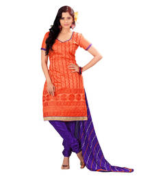Buy Orange embroidered Chanderi unstitched salwar with dupatta dress-material online