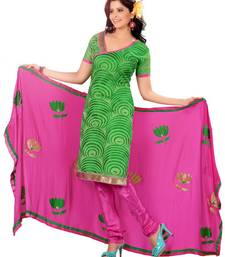 Buy Green embroidered Chanderi unstitched salwar with dupatta dress-material online