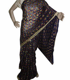 Buy Navy Blue embroidered chiffon saree with out blouse phulkari-saree online