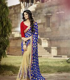 Buy BLUE and BEIGE embroidered jacquard saree with out blouse party-wear-saree online