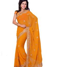 Buy yallow embroidered georgette saree with blouse party-wear-saree online