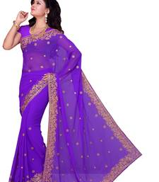 Buy Purple embroidered georgette saree with blouse party-wear-saree online