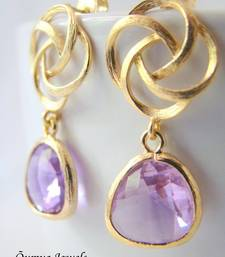 Buy 18K Gold Plated Design with Lavender Color Drop Fashion Earrings danglers-drop online