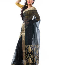 Buy Black hand_woven linen saree with blouse silk-saree online