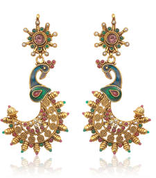 Buy Golden Peacock Meenakari Earrings by ADIVA ABSWE0EE0025  gifts-for-her online