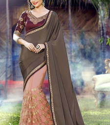 Buy Grey  and  Peach embroidered georgette saree with blouse half-saree online
