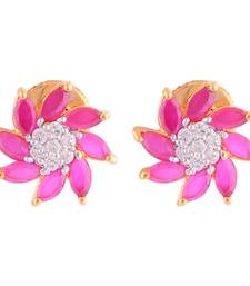 Buy Floral Shaped Ruby Tops With CZ stones stud online