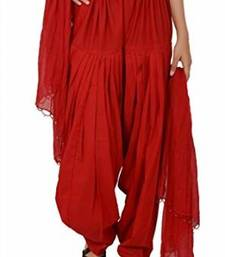 Buy Red Cotton Patiyala and Dupatta Set patialas-pant online