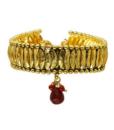 Buy Classic gold bajubandh with red stone bajuband online