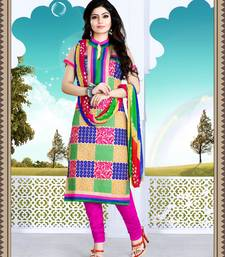Buy cream embroidered cotton semi stitched salwar with dupatta cotton-salwar-kameez online